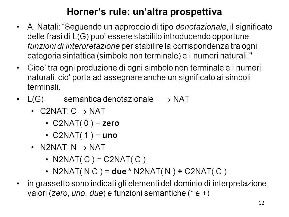 12 Horners rule: unaltra prospettiva A. Natali: Seguendo un approccio di tipo denotazionale, il significato delle frasi di L(G) puo' essere stabilito