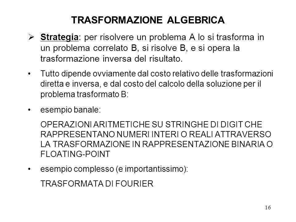 16 TRASFORMAZIONE ALGEBRICA Strategia: per risolvere un problema A lo si trasforma in un problema correlato B, si risolve B, e si opera la trasformazi