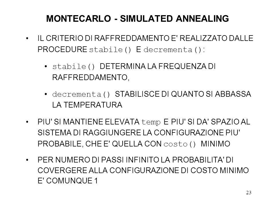 23 MONTECARLO - SIMULATED ANNEALING IL CRITERIO DI RAFFREDDAMENTO E' REALIZZATO DALLE PROCEDURE stabile() E decrementa() : stabile() DETERMINA LA FREQ