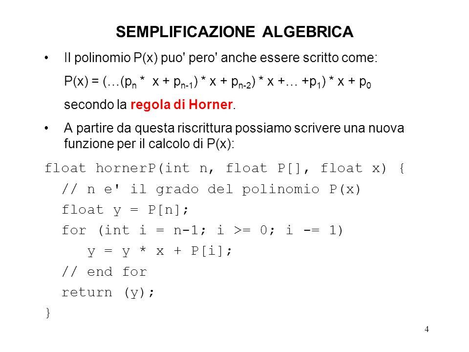 4 SEMPLIFICAZIONE ALGEBRICA Il polinomio P(x) puo' pero' anche essere scritto come: P(x) = (…(p n * x + p n-1 ) * x + p n-2 ) * x +… +p 1 ) * x + p 0