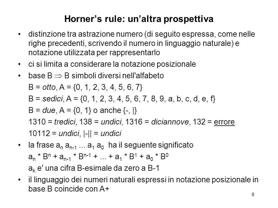 8 Horners rule: unaltra prospettiva distinzione tra astrazione numero (di seguito espressa, come nelle righe precedenti, scrivendo il numero in lingua