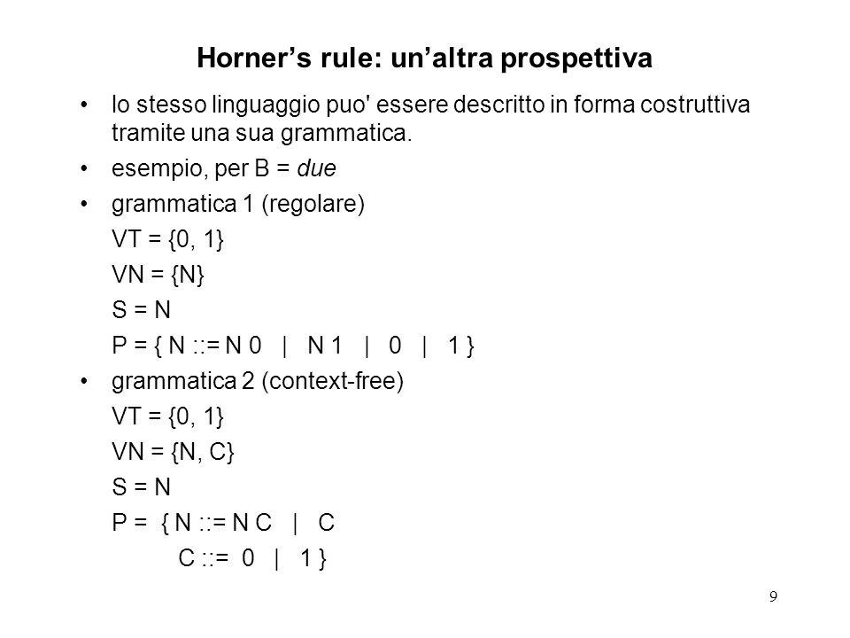 9 Horners rule: unaltra prospettiva lo stesso linguaggio puo' essere descritto in forma costruttiva tramite una sua grammatica. esempio, per B = due g