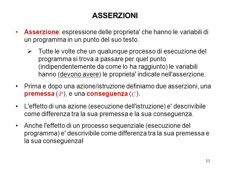 11 ASSERZIONI Asserzione: espressione delle proprieta che hanno le variabili di un programma in un punto del suo testo.