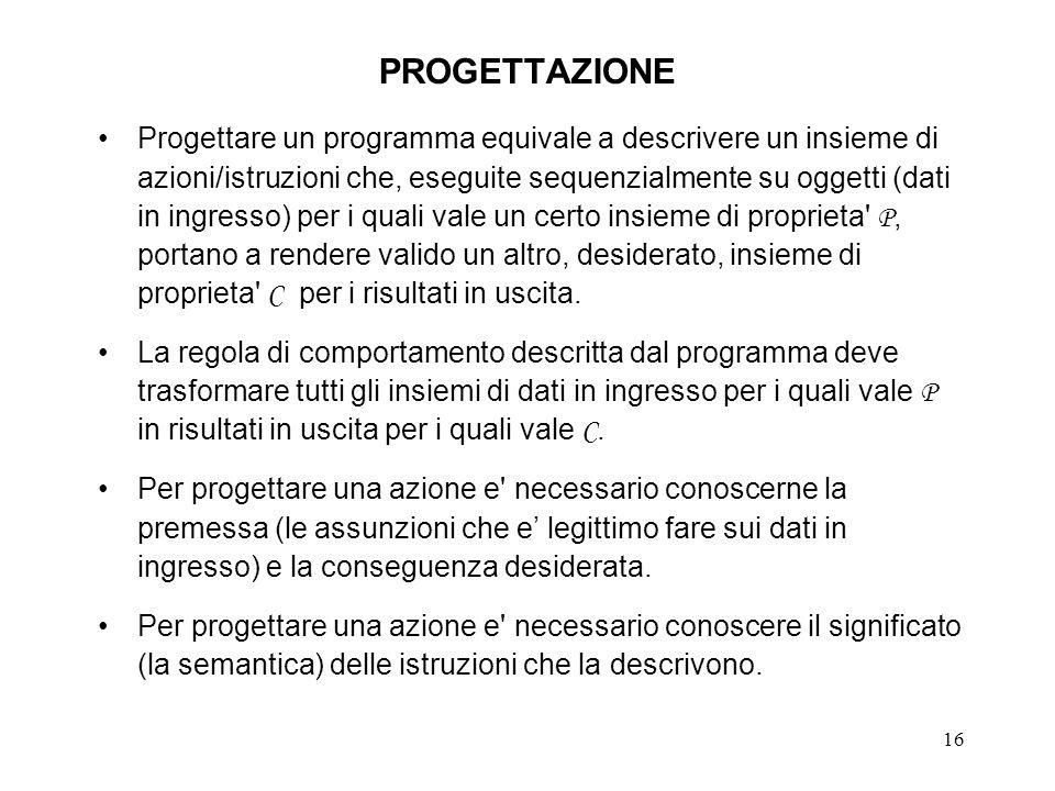 16 PROGETTAZIONE Progettare un programma equivale a descrivere un insieme di azioni/istruzioni che, eseguite sequenzialmente su oggetti (dati in ingresso) per i quali vale un certo insieme di proprieta P, portano a rendere valido un altro, desiderato, insieme di proprieta C per i risultati in uscita.