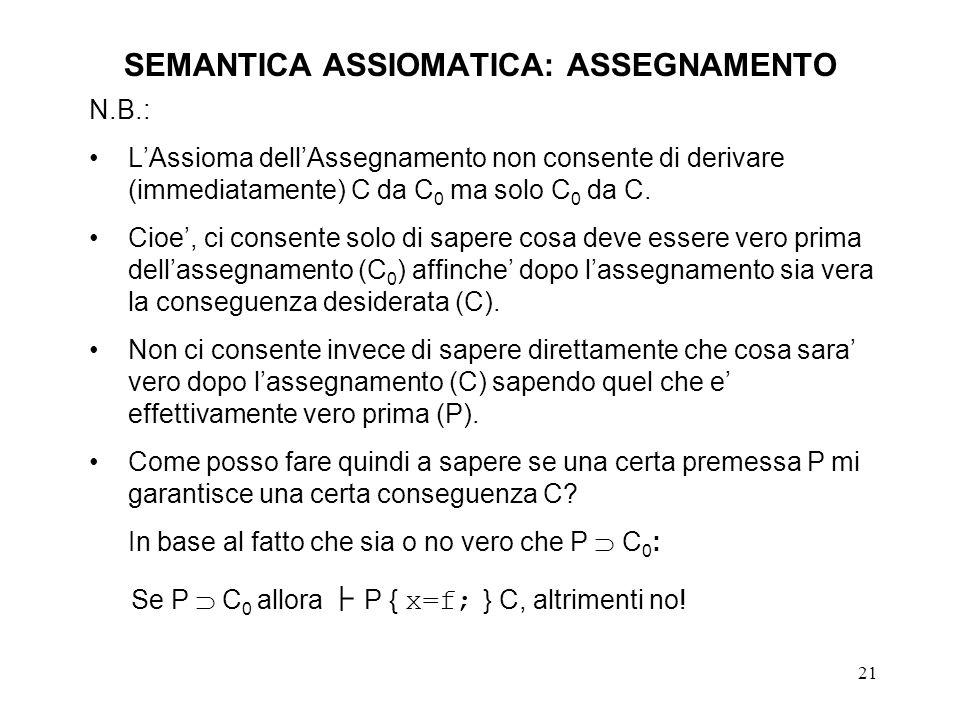 21 SEMANTICA ASSIOMATICA: ASSEGNAMENTO N.B.: LAssioma dellAssegnamento non consente di derivare (immediatamente) C da C 0 ma solo C 0 da C.