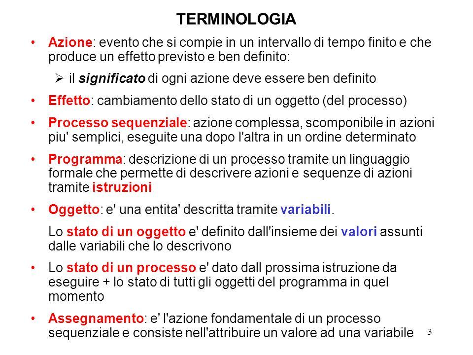3 TERMINOLOGIA Azione: evento che si compie in un intervallo di tempo finito e che produce un effetto previsto e ben definito: il significato di ogni azione deve essere ben definito Effetto: cambiamento dello stato di un oggetto (del processo) Processo sequenziale: azione complessa, scomponibile in azioni piu semplici, eseguite una dopo l altra in un ordine determinato Programma: descrizione di un processo tramite un linguaggio formale che permette di descrivere azioni e sequenze di azioni tramite istruzioni Oggetto: e una entita descritta tramite variabili.