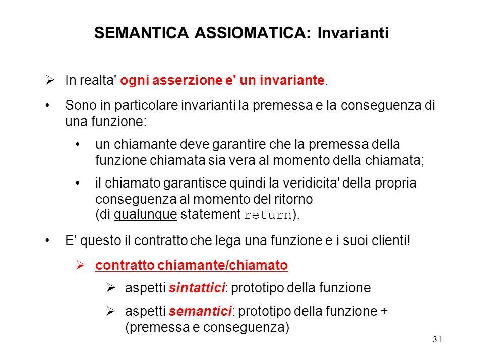 31 SEMANTICA ASSIOMATICA: Invarianti In realta ogni asserzione e un invariante.