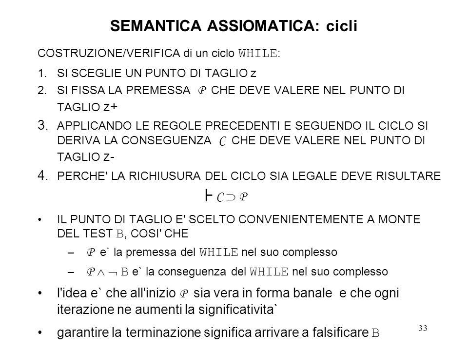 33 SEMANTICA ASSIOMATICA: cicli COSTRUZIONE/VERIFICA di un ciclo WHILE : 1.SI SCEGLIE UN PUNTO DI TAGLIO z 2.SI FISSA LA PREMESSA P CHE DEVE VALERE NEL PUNTO DI TAGLIO z+ 3.