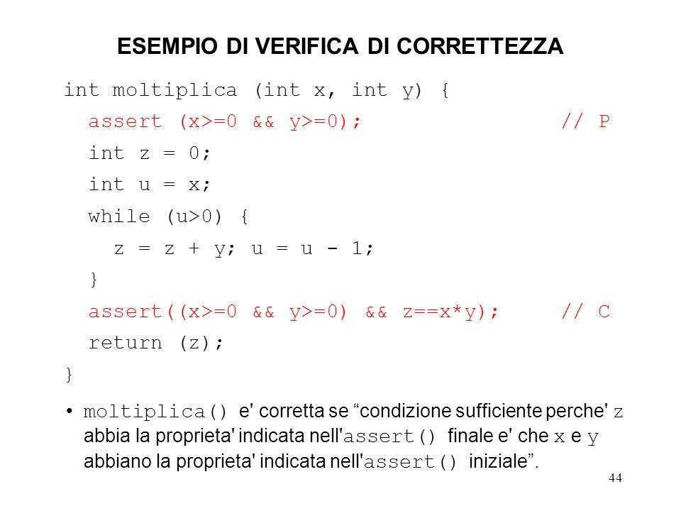 44 ESEMPIO DI VERIFICA DI CORRETTEZZA int moltiplica (int x, int y) { assert (x>=0 && y>=0);// P int z = 0; int u = x; while (u>0) { z = z + y; u = u - 1; } assert((x>=0 && y>=0) && z==x*y); // C return (z); } moltiplica() e corretta se condizione sufficiente perche z abbia la proprieta indicata nell assert() finale e che x e y abbiano la proprieta indicata nell assert() iniziale.