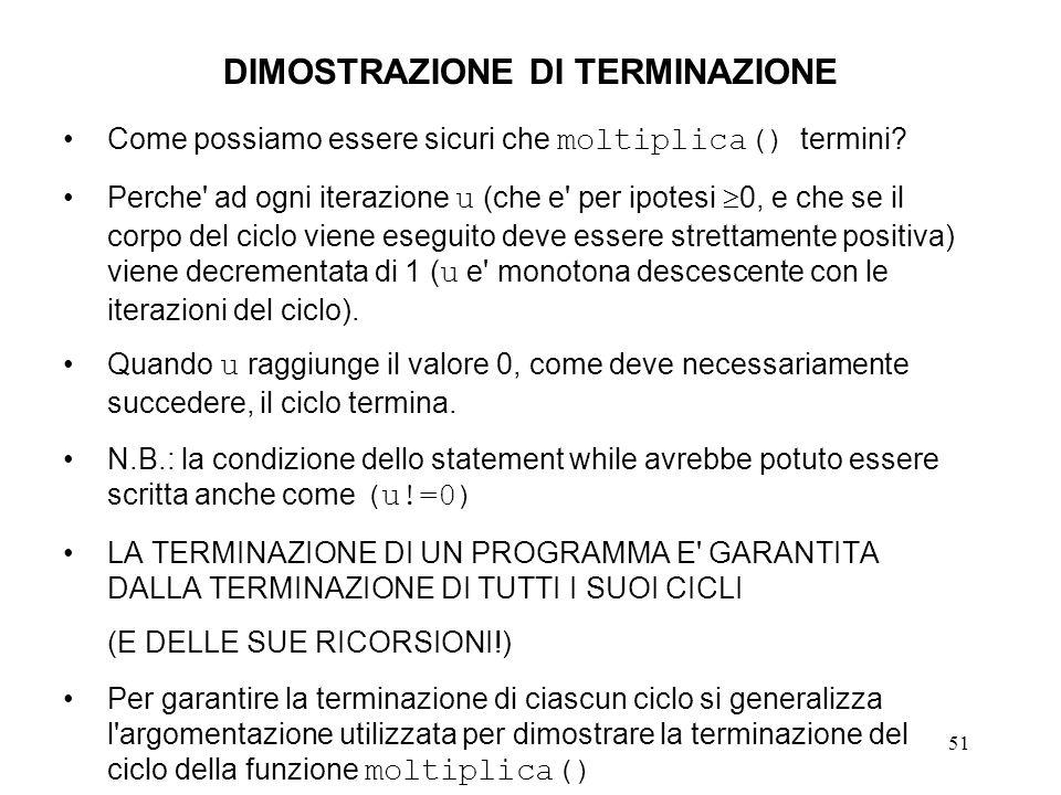 51 DIMOSTRAZIONE DI TERMINAZIONE Come possiamo essere sicuri che moltiplica() termini.