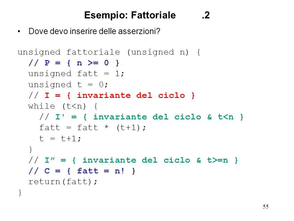 55 Esempio: Fattoriale.2 Dove devo inserire delle asserzioni.