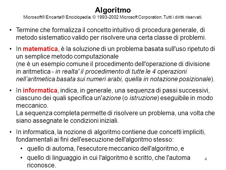 5 Algoritmo Microsoft® Encarta® Enciclopedia.© 1993-2002 Microsoft Corporation.