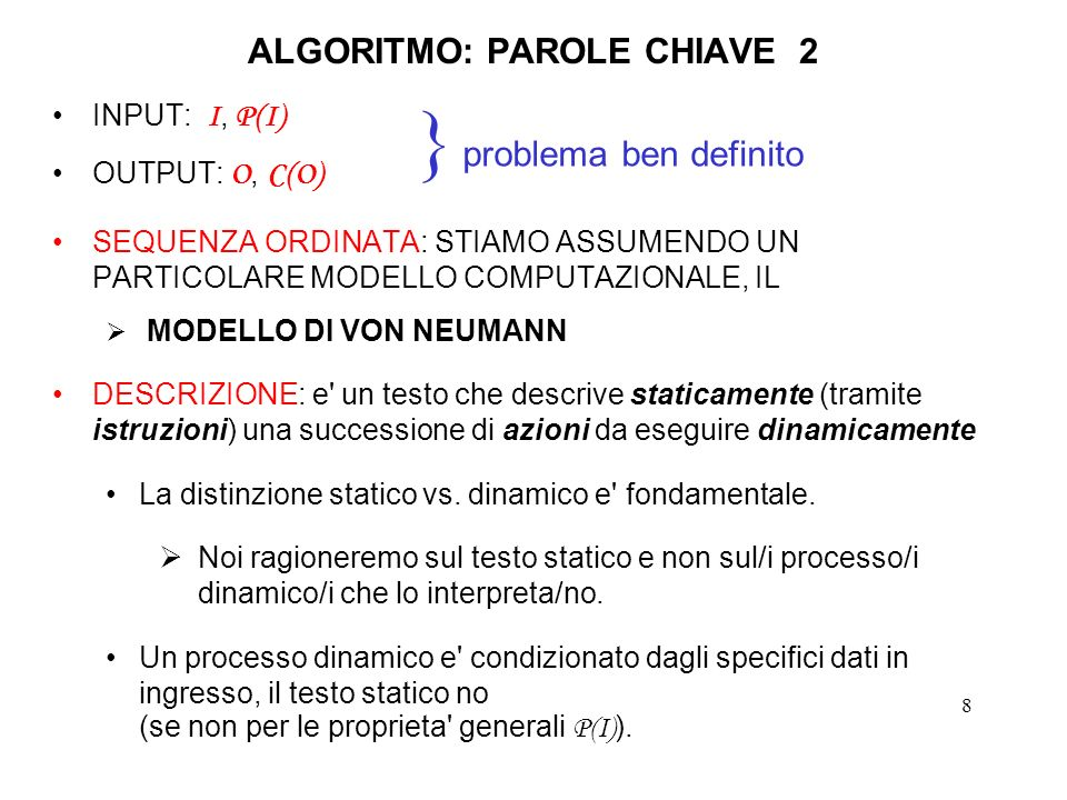 19 ALGORITMO DI EUCLIDE2c In realta il primo elemento di ciascuna delle triple considerate nell algoritmo euclide_1() non viene mai utilizzato (dopo che si e effettuato il calcolo del terzo elemento della tripla) ne per verificare se l algoritmo e terminato (viene utilizzato il terzo elemento) ne per determinare gli elementi della prossima tripla (vengono utilizzati il secondo ed il terzo elemento) (il primo elemento di una tripla e utilizzato solo per il calcolo del terzo elemento della tripla stessa) Possiamo quindi eliminare il primo elemento di ciascuna tripla, limitandoci a considerare la coppia formata dagli ultimi due elementi.