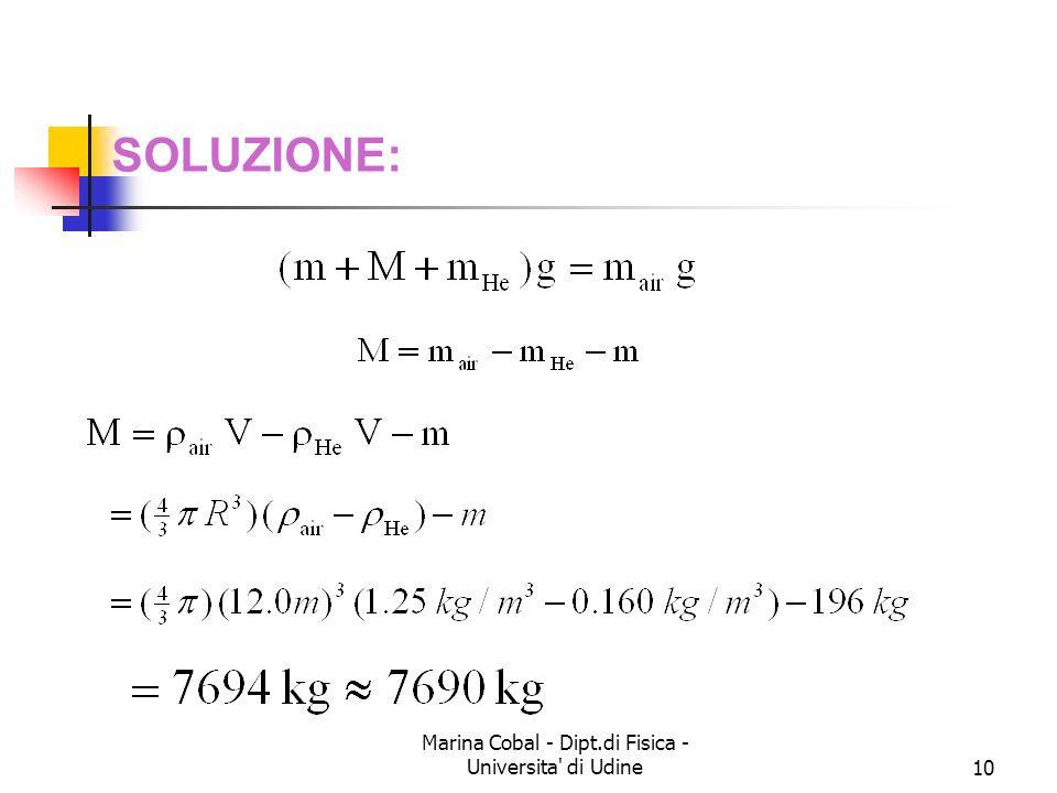 Marina Cobal - Dipt.di Fisica - Universita' di Udine10 SOLUZIONE: