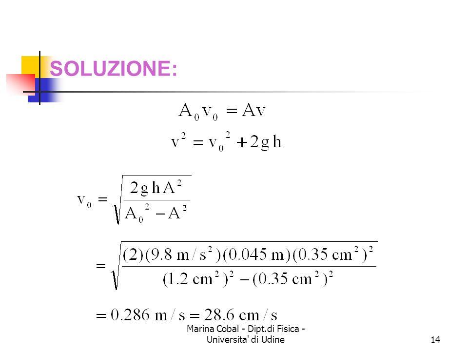 Marina Cobal - Dipt.di Fisica - Universita' di Udine14 SOLUZIONE: