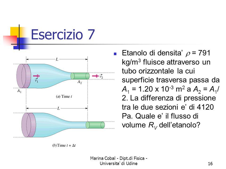 Marina Cobal - Dipt.di Fisica - Universita' di Udine16 Esercizio 7 Etanolo di densita = 791 kg/m 3 fluisce attraverso un tubo orizzontale la cui super