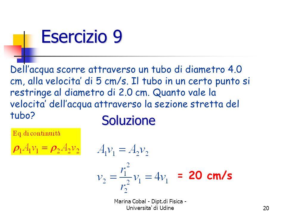 Marina Cobal - Dipt.di Fisica - Universita' di Udine20 Esercizio 9 Dellacqua scorre attraverso un tubo di diametro 4.0 cm, alla velocita di 5 cm/s. Il