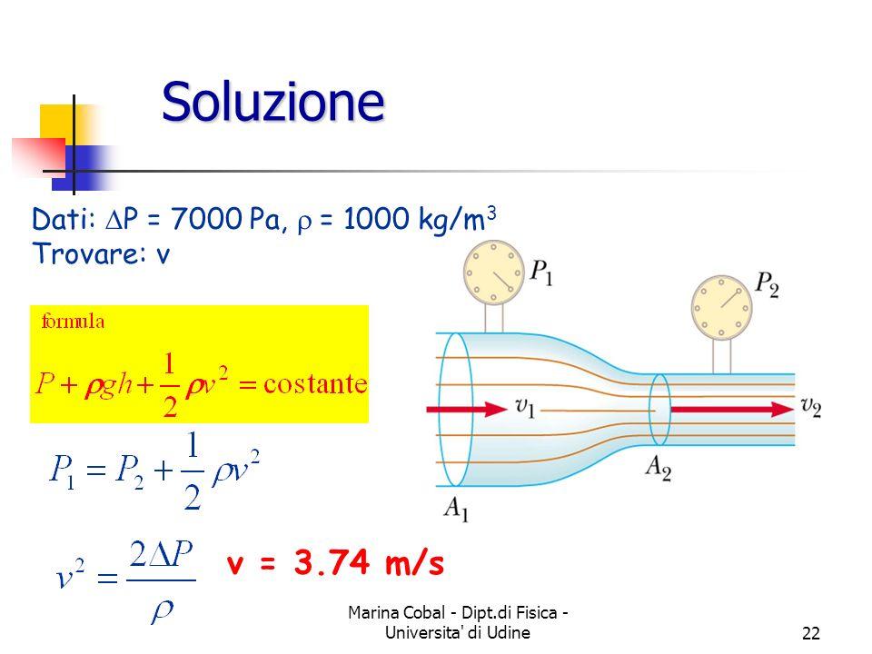Marina Cobal - Dipt.di Fisica - Universita' di Udine22 Soluzione Dati: P = 7000 Pa, = 1000 kg/m 3 Trovare: v v = 3.74 m/s