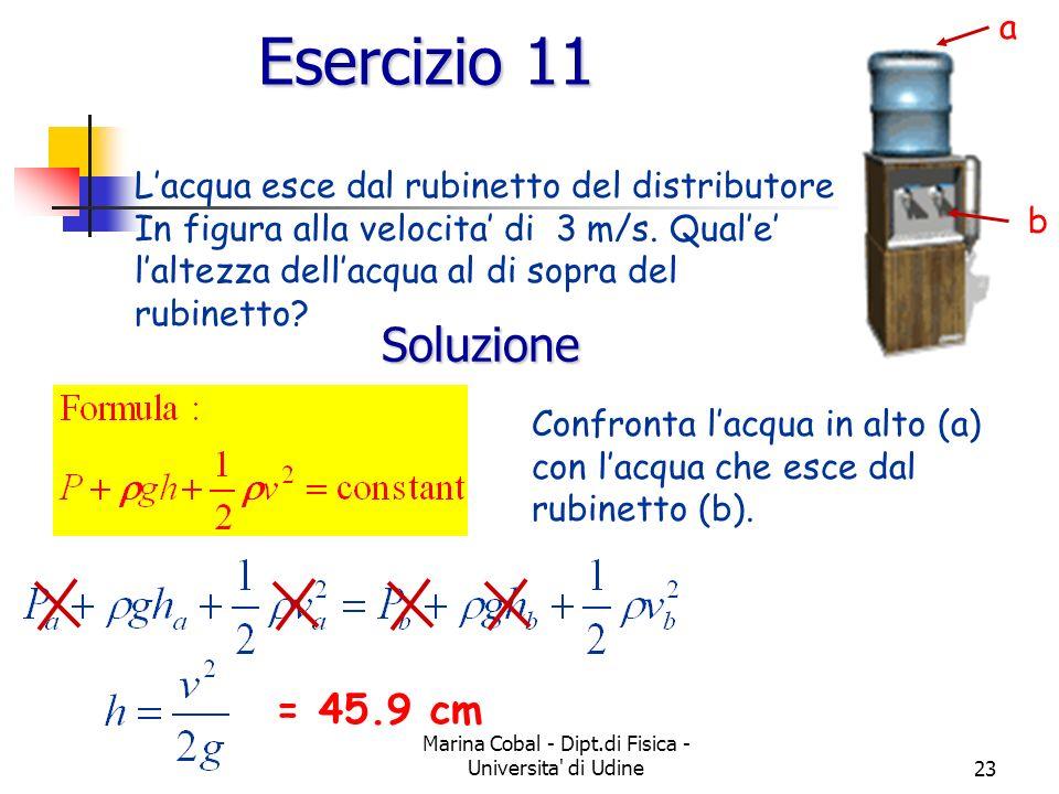 Marina Cobal - Dipt.di Fisica - Universita' di Udine23 Esercizio 11 Lacqua esce dal rubinetto del distributore In figura alla velocita di 3 m/s. Quale