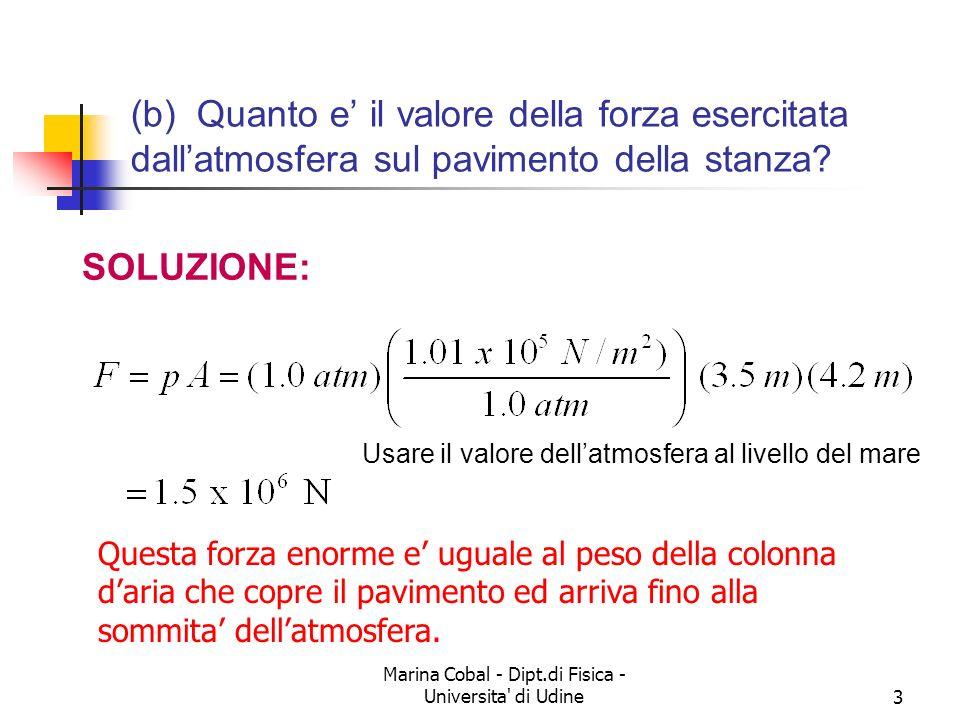 Marina Cobal - Dipt.di Fisica - Universita' di Udine3 (b) Quanto e il valore della forza esercitata dallatmosfera sul pavimento della stanza? SOLUZION