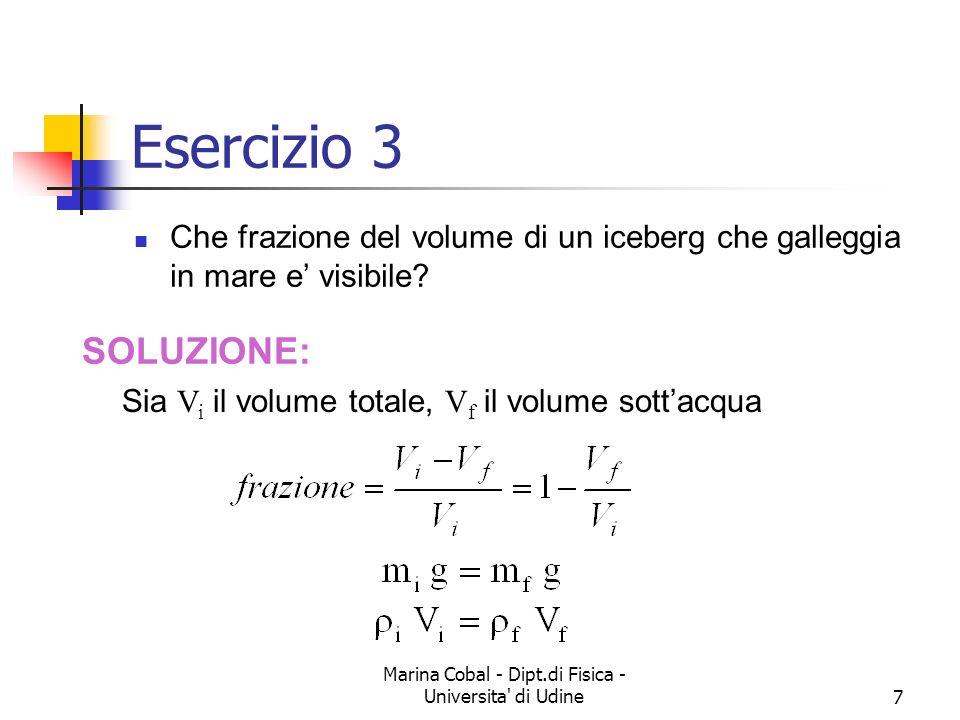 Marina Cobal - Dipt.di Fisica - Universita' di Udine7 Esercizio 3 Che frazione del volume di un iceberg che galleggia in mare e visibile? SOLUZIONE: S