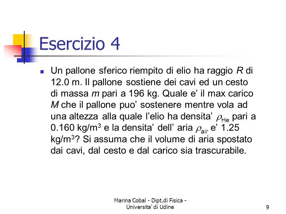 9 Esercizio 4 Un pallone sferico riempito di elio ha raggio R di 12.0 m. Il pallone sostiene dei cavi ed un cesto di massa m pari a 196 kg. Quale e il