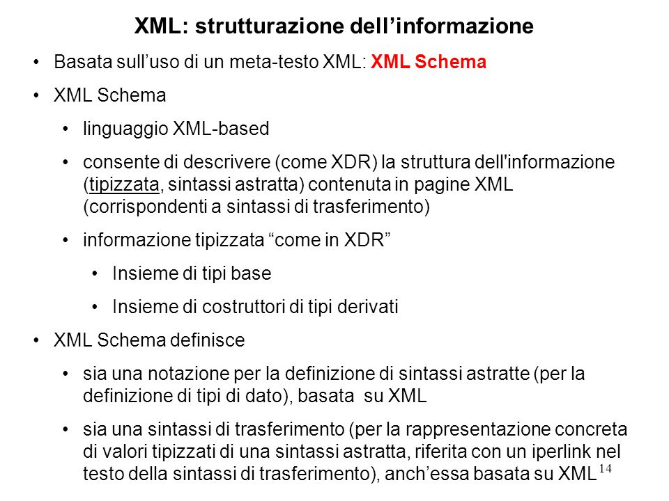 14 XML: strutturazione dellinformazione Basata sulluso di un meta-testo XML: XML Schema XML Schema linguaggio XML-based consente di descrivere (come XDR) la struttura dell informazione (tipizzata, sintassi astratta) contenuta in pagine XML (corrispondenti a sintassi di trasferimento) informazione tipizzata come in XDR Insieme di tipi base Insieme di costruttori di tipi derivati XML Schema definisce sia una notazione per la definizione di sintassi astratte (per la definizione di tipi di dato), basata su XML sia una sintassi di trasferimento (per la rappresentazione concreta di valori tipizzati di una sintassi astratta, riferita con un iperlink nel testo della sintassi di trasferimento), anchessa basata su XML