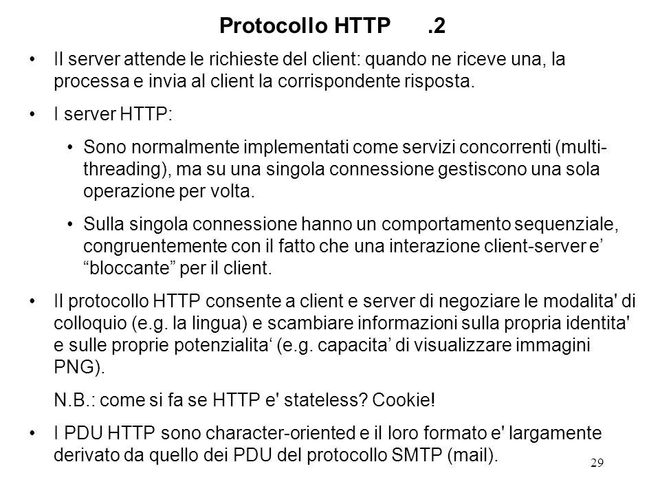 29 Protocollo HTTP.2 Il server attende le richieste del client: quando ne riceve una, la processa e invia al client la corrispondente risposta. I serv