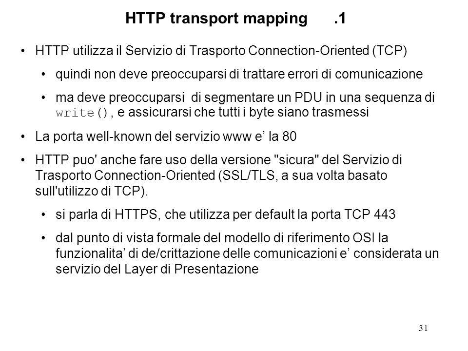 31 HTTP transport mapping.1 HTTP utilizza il Servizio di Trasporto Connection-Oriented (TCP) quindi non deve preoccuparsi di trattare errori di comunicazione ma deve preoccuparsi di segmentare un PDU in una sequenza di write(), e assicurarsi che tutti i byte siano trasmessi La porta well-known del servizio www e la 80 HTTP puo anche fare uso della versione sicura del Servizio di Trasporto Connection-Oriented (SSL/TLS, a sua volta basato sull utilizzo di TCP).