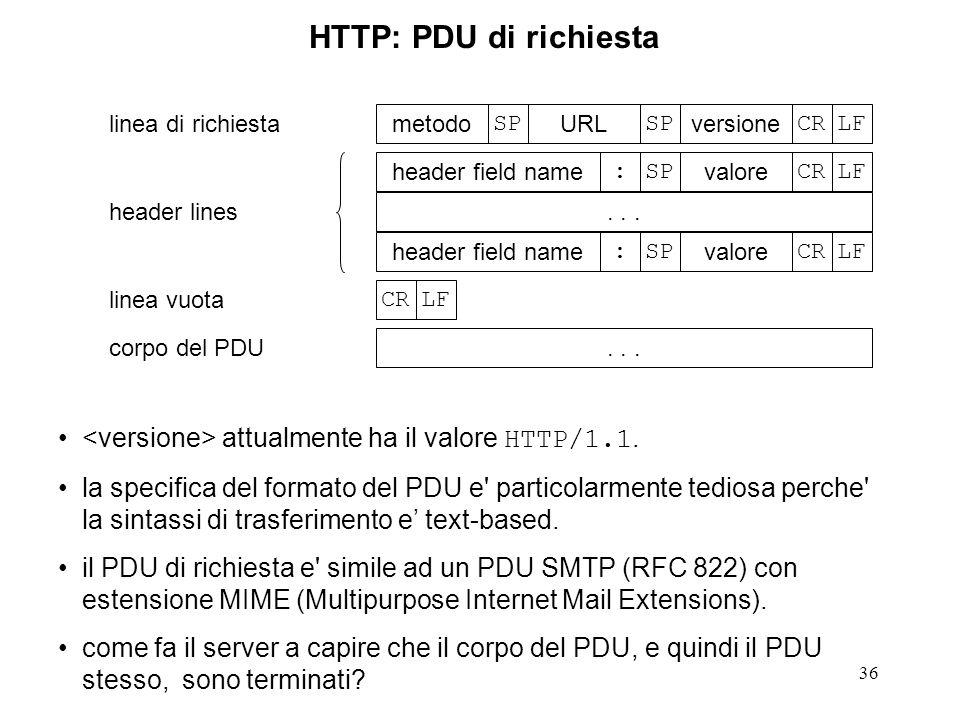 36 HTTP: PDU di richiesta LFCR versione SP URL SP metodo LFCR valore SP: header field name... LFCR valore SP: header field name LFCR... linea di richi