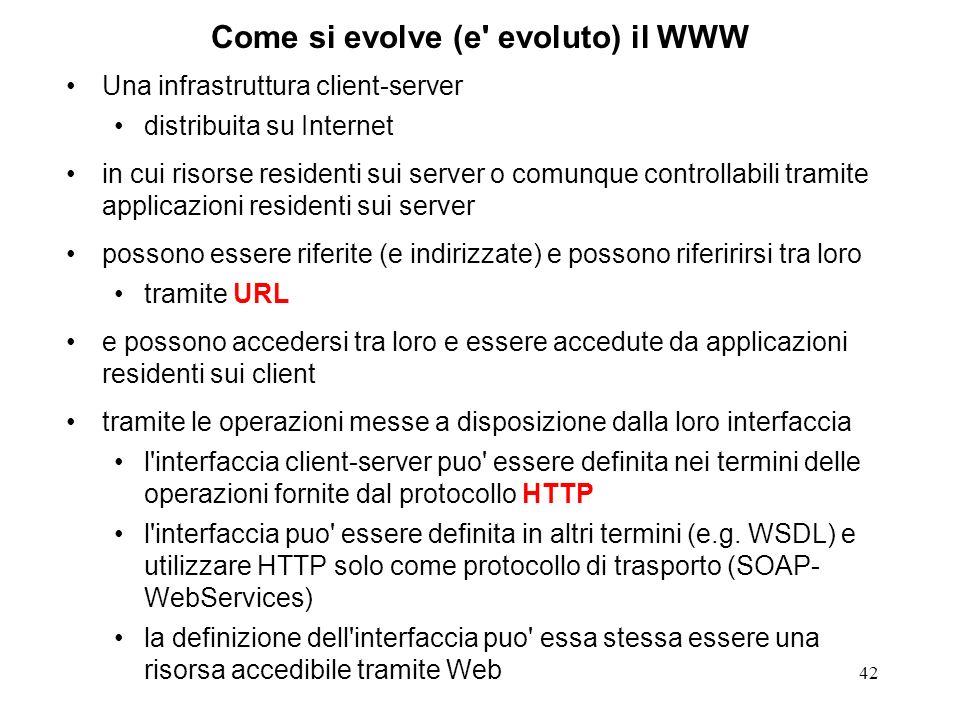 42 Come si evolve (e' evoluto) il WWW Una infrastruttura client-server distribuita su Internet in cui risorse residenti sui server o comunque controll
