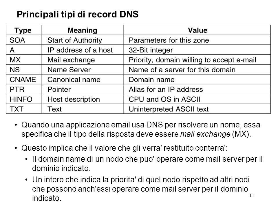 11 Principali tipi di record DNS Quando una applicazione email usa DNS per risolvere un nome, essa specifica che il tipo della risposta deve essere ma