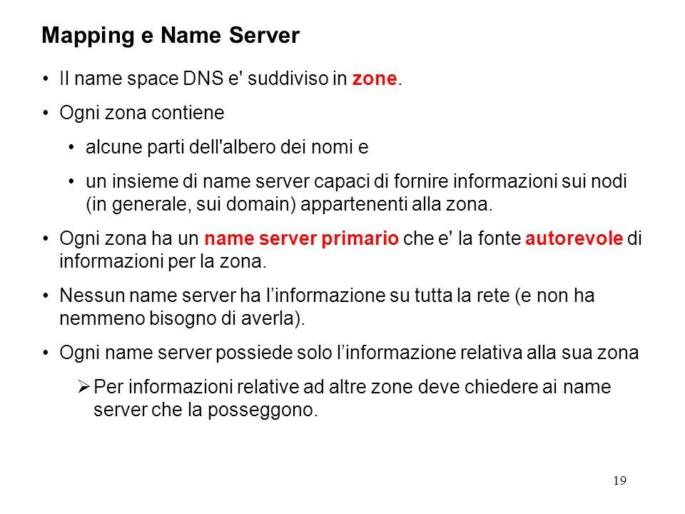 19 Mapping e Name Server Il name space DNS e' suddiviso in zone. Ogni zona contiene alcune parti dell'albero dei nomi e un insieme di name server capa