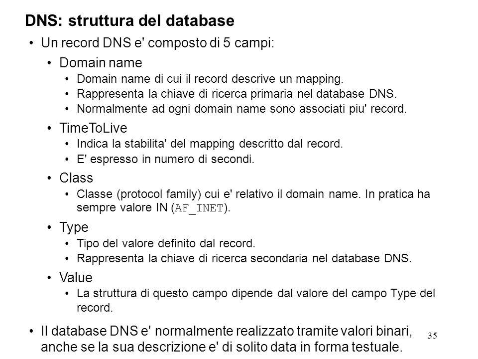35 Un record DNS e' composto di 5 campi: Domain name Domain name di cui il record descrive un mapping. Rappresenta la chiave di ricerca primaria nel d