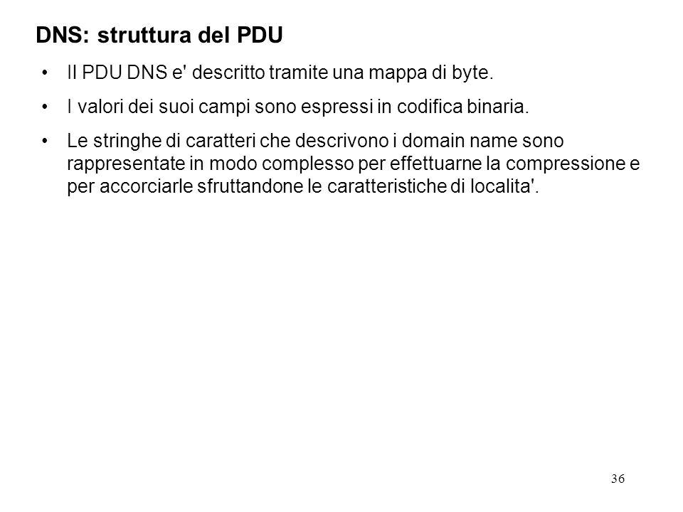 36 Il PDU DNS e' descritto tramite una mappa di byte. I valori dei suoi campi sono espressi in codifica binaria. Le stringhe di caratteri che descrivo