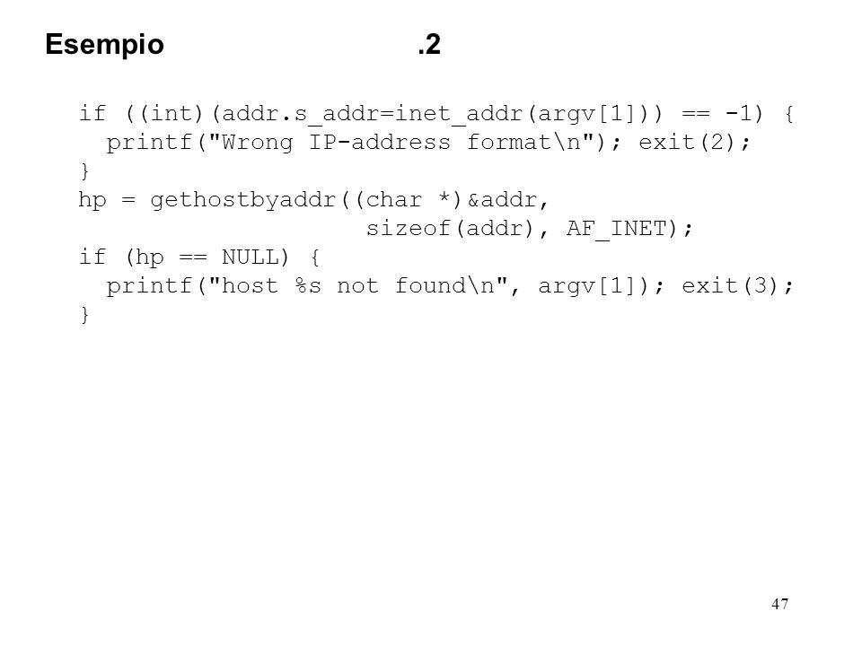 47 if ((int)(addr.s_addr=inet_addr(argv[1])) == -1) { printf(