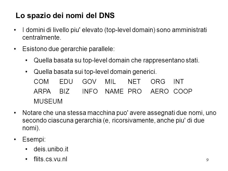 9 Lo spazio dei nomi del DNS I domini di livello piu' elevato (top-level domain) sono amministrati centralmente. Esistono due gerarchie parallele: Que