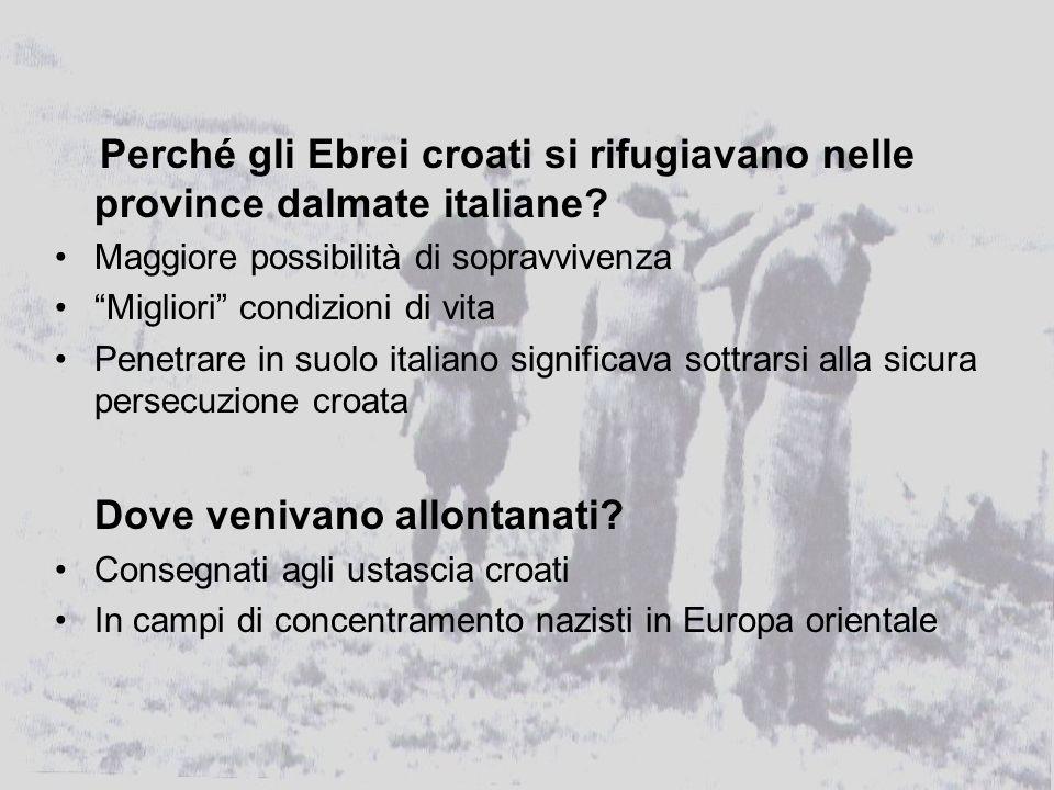Perché gli Ebrei croati si rifugiavano nelle province dalmate italiane.