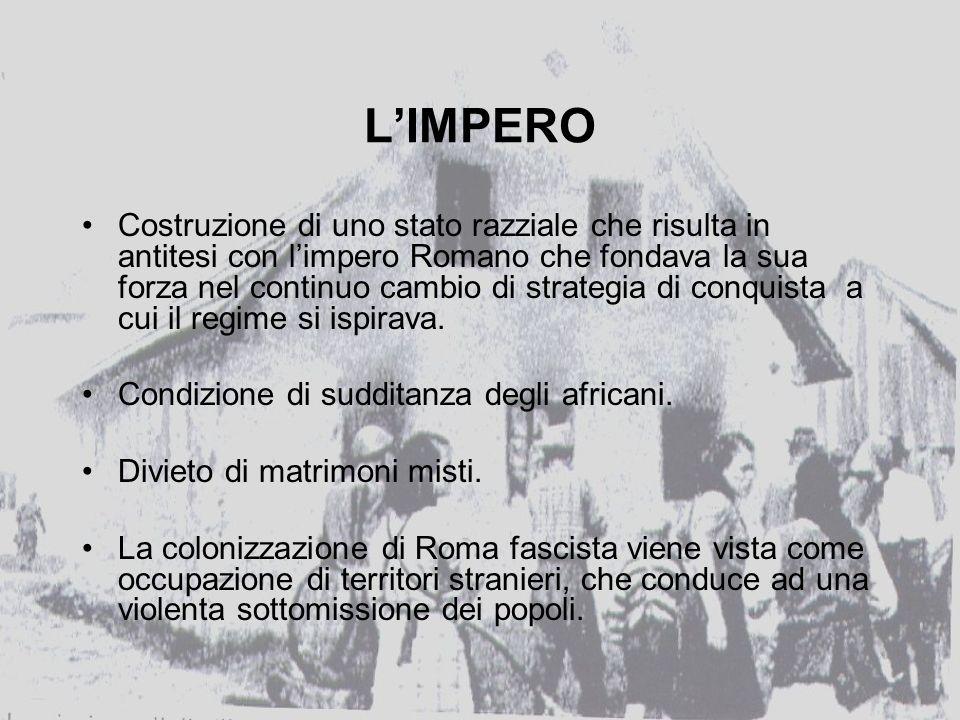 LIMPERO Costruzione di uno stato razziale che risulta in antitesi con limpero Romano che fondava la sua forza nel continuo cambio di strategia di conquista a cui il regime si ispirava.