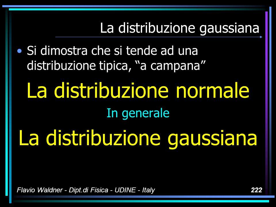 Flavio Waldner - Dipt.di Fisica - UDINE - Italy222 La distribuzione gaussiana Si dimostra che si tende ad una distribuzione tipica, a campana La distr