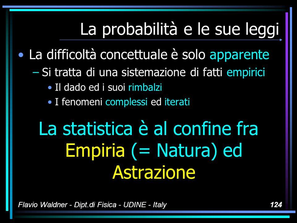Flavio Waldner - Dipt.di Fisica - UDINE - Italy124 La probabilità e le sue leggi La difficoltà concettuale è solo apparente –Si tratta di una sistemaz