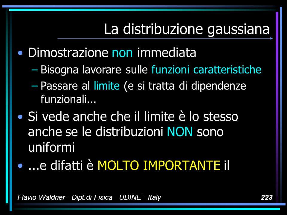Flavio Waldner - Dipt.di Fisica - UDINE - Italy223 La distribuzione gaussiana Dimostrazione non immediata –Bisogna lavorare sulle funzioni caratterist