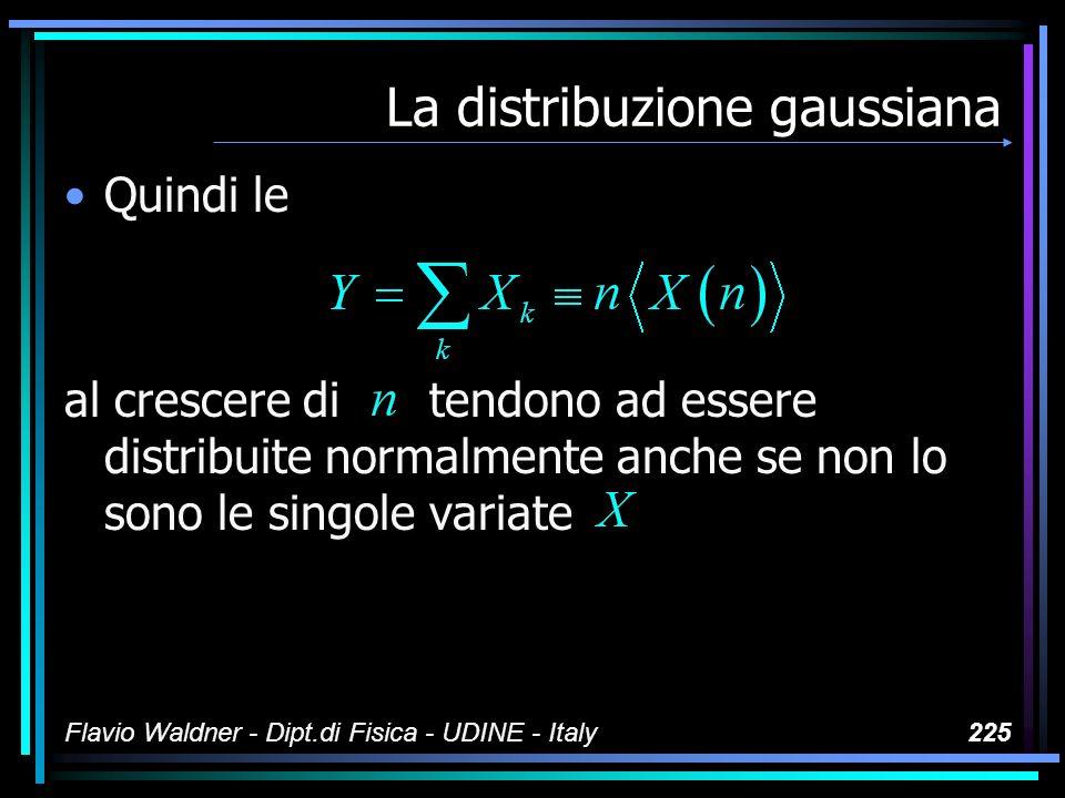 Flavio Waldner - Dipt.di Fisica - UDINE - Italy225 La distribuzione gaussiana Quindi le al crescere di tendono ad essere distribuite normalmente anche