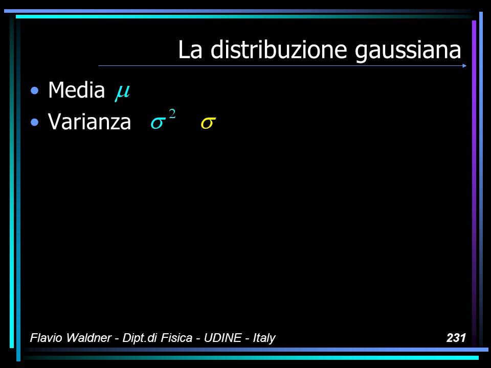 Flavio Waldner - Dipt.di Fisica - UDINE - Italy231 La distribuzione gaussiana Media Varianza