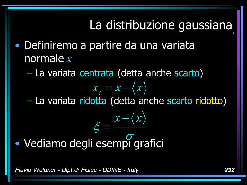 Flavio Waldner - Dipt.di Fisica - UDINE - Italy232 La distribuzione gaussiana Definiremo a partire da una variata normale x –La variata centrata (dett