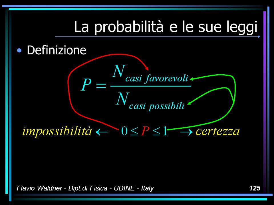 Flavio Waldner - Dipt.di Fisica - UDINE - Italy125 La probabilità e le sue leggi Definizione