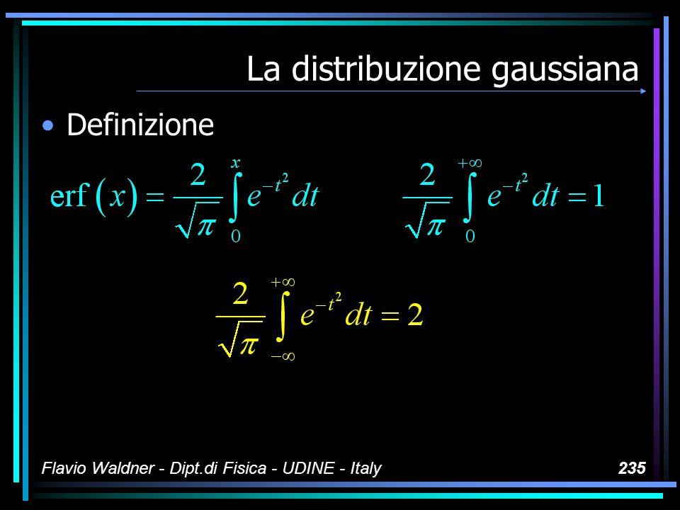 Flavio Waldner - Dipt.di Fisica - UDINE - Italy235 La distribuzione gaussiana Definizione