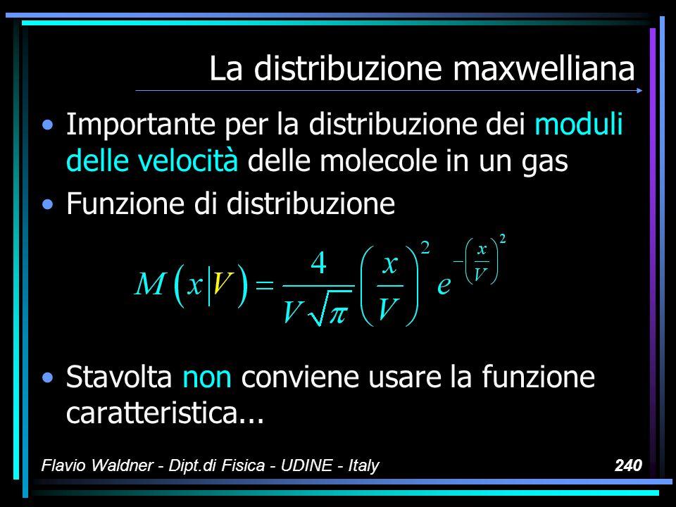Flavio Waldner - Dipt.di Fisica - UDINE - Italy240 La distribuzione maxwelliana Importante per la distribuzione dei moduli delle velocità delle moleco