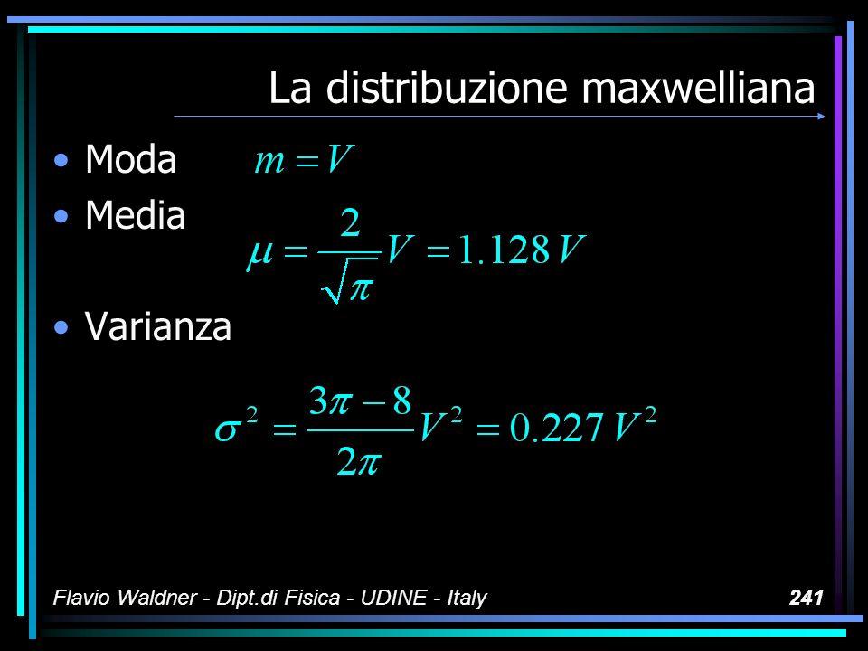 Flavio Waldner - Dipt.di Fisica - UDINE - Italy241 La distribuzione maxwelliana Moda Media Varianza