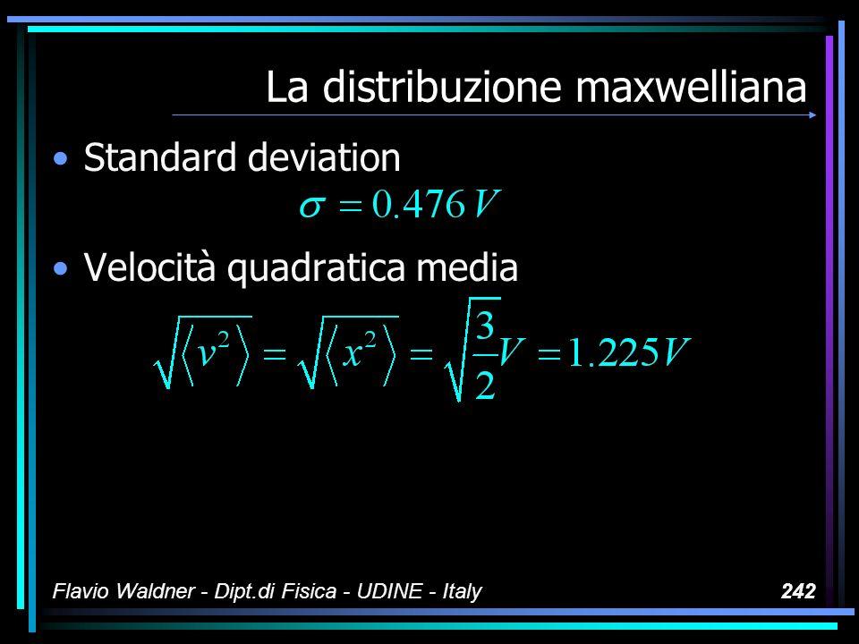 Flavio Waldner - Dipt.di Fisica - UDINE - Italy242 La distribuzione maxwelliana Standard deviation Velocità quadratica media
